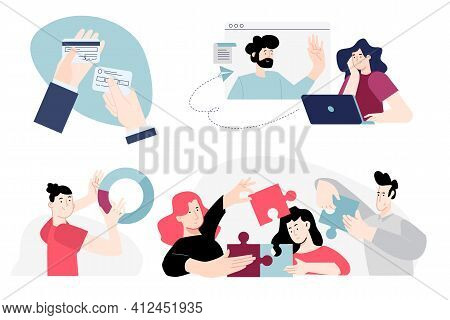 Set Of Flat Design People Concepts Of Banking, Payment, Credit Card, Business Solutions, Teamwork, A