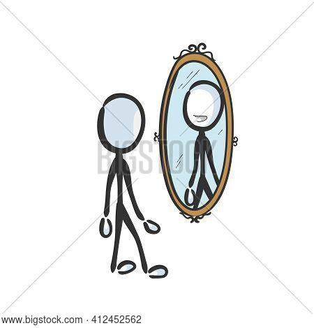 Happy Smiling Man Looking In Mirror. Vector Simple Self Esteem Reflection In The Mirror. Stickman No