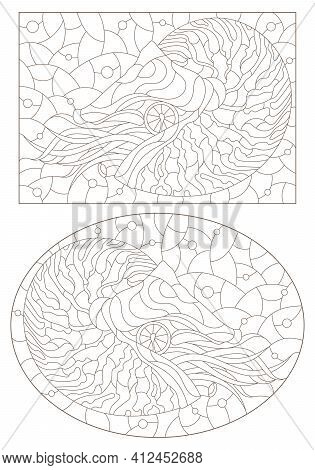 Set Of Contour Illustrations Of Stained Glass Windows With Nautilus Clams, Dark Outlines On A White