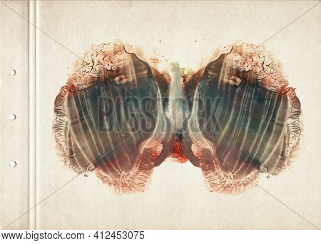 Card Of Rorschach Inkblot Test. Red, Brown, Orange And Blue Watercolor Painting On Old Paper.