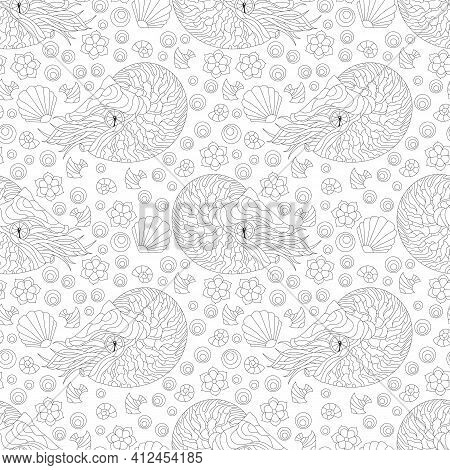 Seamless Pattern With Outlines Nautilus, Shells And Fish, Dark Contour Animals On A Light Background