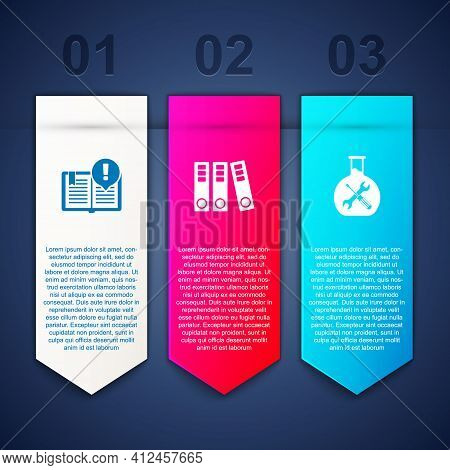 Set Interesting Facts, Office Folders And Bioengineering Service. Business Infographic Template. Vec