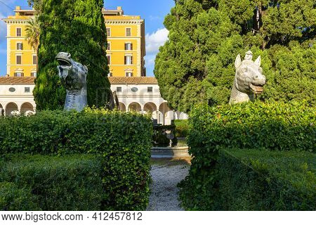 Rome, Italy - October 10, 2020: Giant Ancient Animals Heads In 16th-century Garden, Cloister Of Mich