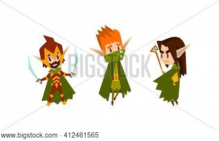 Cute Warlike Forest Elves Set, Fairytale Magic Characters In Green Clothes Cartoon Vector Illustrati
