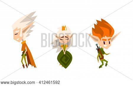 Forest Elves Set, Cute Fairytale Magic Characters Vector Illustration On White Background