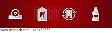 Set Otolaryngological Head Reflector, Dental Card, Tooth Whitening And Mouthwash Bottle Icon. Vector