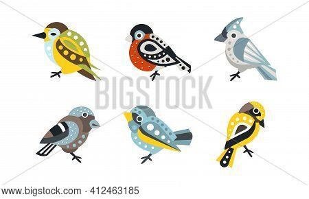 Collection Of Colorful Birds, Bullfinch, Sparrow, Wren Cartoon Vector Illustration