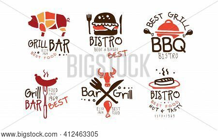 Grill Bar Best Food Logo Design Set, Best Grill Bbq Bistro Emblems Hand Drawn Vector Illustration