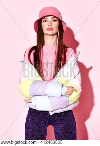 Stylish Sensual Teenager Girl Model Beauty Studio Portrait Isolated On Pink Background. Chic Young W