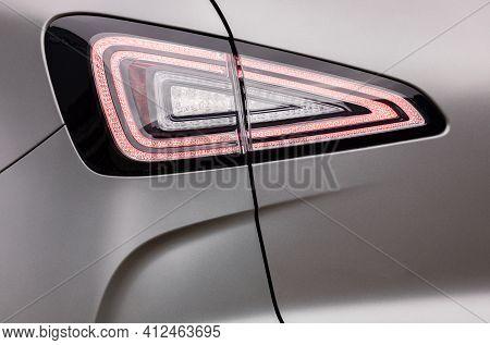 Backlight Of A Grey Car, Led Technology