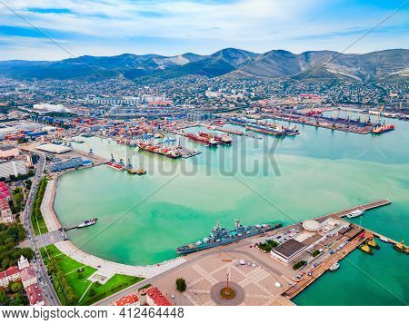 Novorossiysk City Port Aerial Panoramic View. Novorossiysk Is The Main Port On The Black Sea In Kras