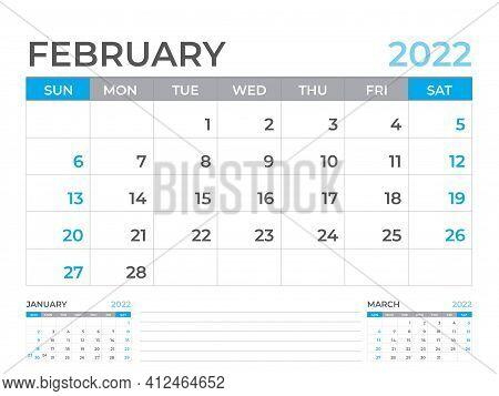 February 2022 Page, Calendar 2022 Template, Desk Calendar, Planner Design, Wall Calendar, Week Start