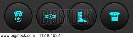 Set Medal, Boxing Belt, Sport Boxing Shoes And T-shirt With Fight Club Mma Icon. Vector