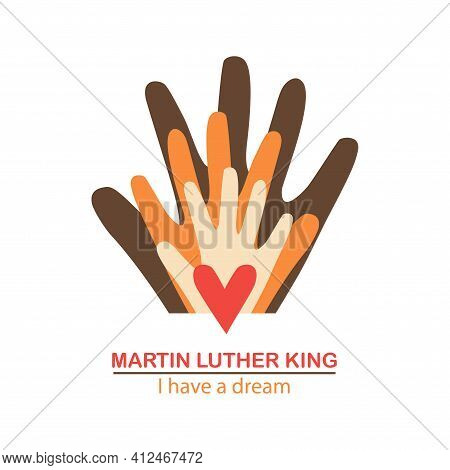 The Isolated Object On A White Background. Martin Luther King Day. Liberty. \