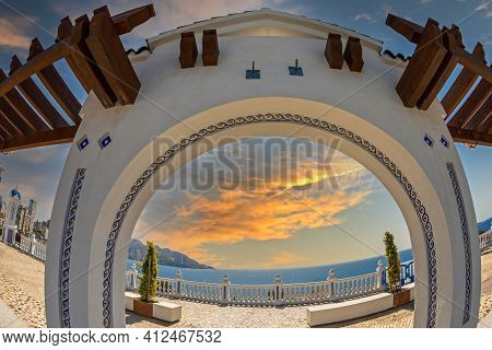 Benidorm, Spain - August 13, 2020: View From The Balcony Of The Mediterranean Sea, Mirador Del Casti