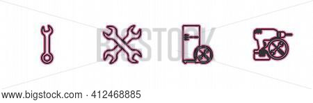 Set Line Wrench, Refrigerator Service, Crossed Wrenchs And Drill Machine Icon. Vector