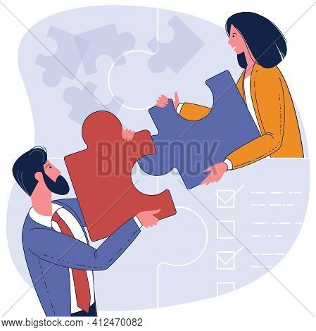 Flat Design Vector Business Concept. People Connecting Puzzle Elements. Symbol Of Teamwork, Cooperat