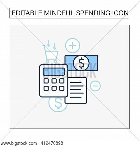 Budgeting Line Icon. Creating Plan To Spend Money. Rational Money Distribution.cash Counting. Though