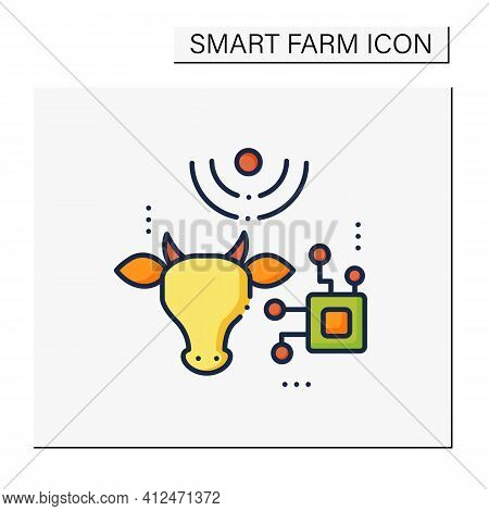 Rfid Animal Identification Color Icon. Digitalization In Agriculture. Device For Monitoring Animal H