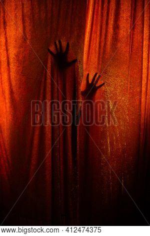 Woman Hand Horror. Horror. Window. Background. Photo.