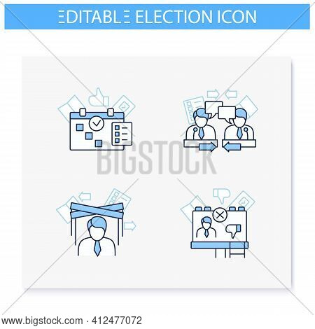 Election Line Icons Set. Election Day, Candidates Debate, Political Puppet, Negative Adv. Choice, Vo