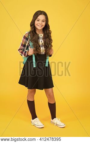 Good Clothes For Successful Academic Year. Teen Fashion. Schoolgirl Modern Clothes With Cute Backpac