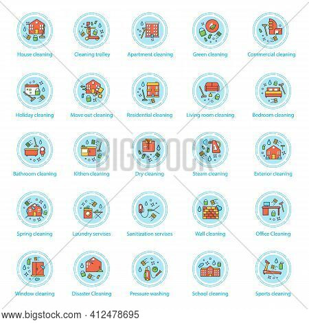 Cleaning Services Concept Icons Set.consists Of House Cleaning, Apartments, Commercial, Services, Pr
