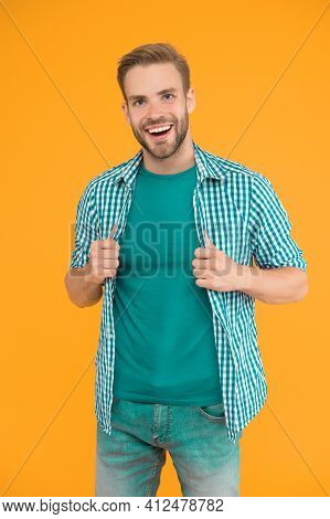 Smile Is Always In Fashion. Happy Man Smile Yellow Background. Unshaven Guy With Healthy Smile. Dent