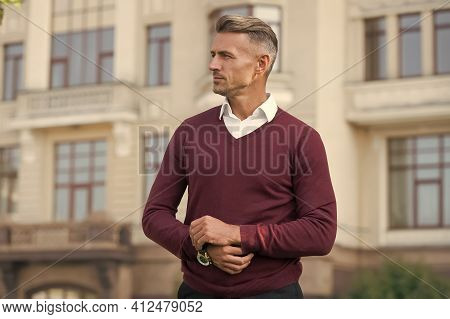 Confident Manager. Suitable In Current Circumstances. Masculinity Concept. Daily Outfit. Man Model C