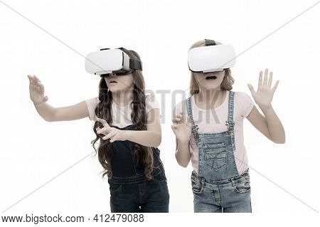 Virtual Reality Is Exciting. Girls Little Kids Wear Vr Glasses White Background. Virtual Education C
