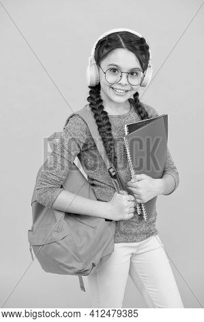 Dont Stop The Lesson. Little Girl Wear Headphones. Happy Child Back To School. Private Lesson. Liste
