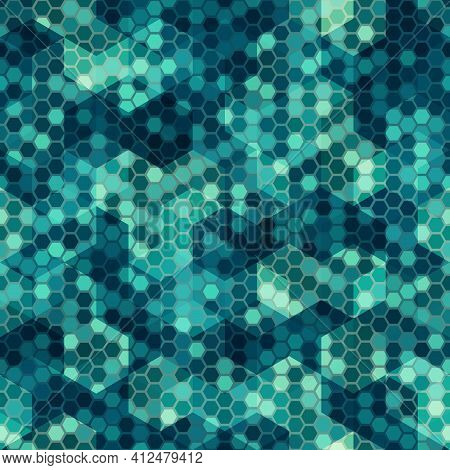 Texture Military Marine Blue Colors Naval Camouflage Seamless Pattern