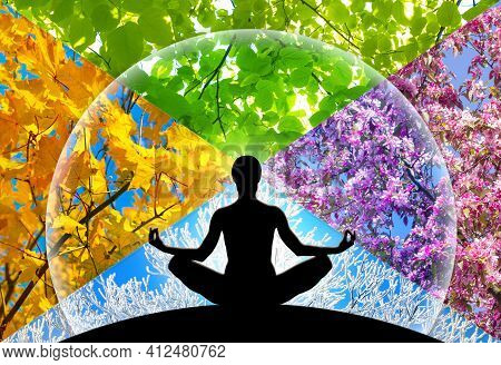 Female Yoga Figure Silhouette Against Collage Of Four Pictures Representing Each Season: Spring, Sum
