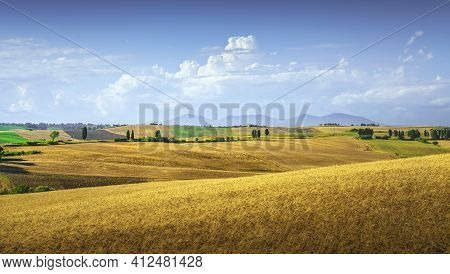 Tuscany Countryside Panorama, Rolling Hills And Wheat Fields. Santa Luce, Pisa Italy, Europe