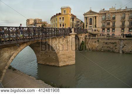 Murcia, Spain, 18 April 2017. Bridge Of Murcia Across The Segura River.