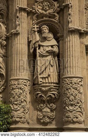 Murcia, Spain, 19 April 2017.  Detail Of The Decorations On The Facade Of The Cathedral Church Of Sa