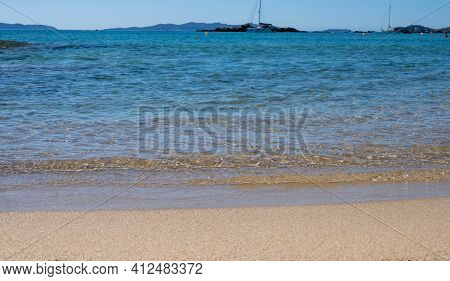 Summer Vacation On French Riviera, Crystal Clear Azure Blue Water Of  Mediterranean Sea In Saint Cla