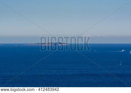 Summer Vacation On French Riviera, View On Azure Blue Mediterranean Sea Near Le Lavandou, Var, Prove