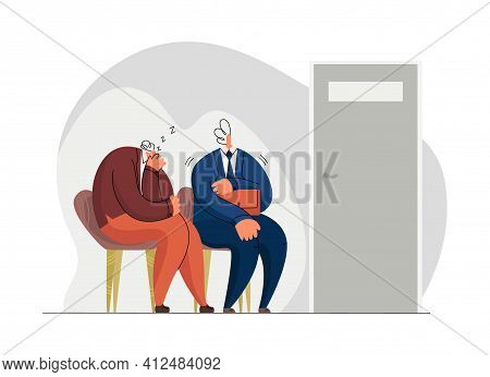 Vector Flat Illustration With Two Characters Waiting For Their Turn In Front Of The Door. Concept Wa