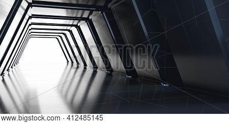 Dark Empty Abstract Futuristic Hallway Floor Building Corridor 3d Render Illustration