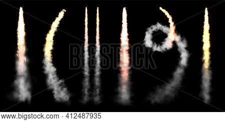 Realistic Space Rocket Launch Trails On Black Background. Fire Burst, Explosion. Missile Or Bullet T