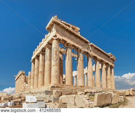 Acropolis, Ancient Greek Fortress In Athens, Greece. Panoramic Image Of Parthenon Temple On A Bright