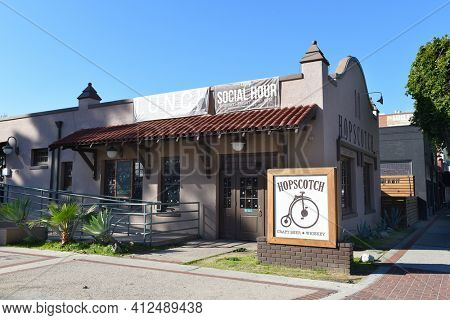 FULLERTON, CALIFORNIA - 24 JAN 2020: Hopscotch Tavern offers avariety of microbrews and whiskeys with hearty American fare in an old train depot.