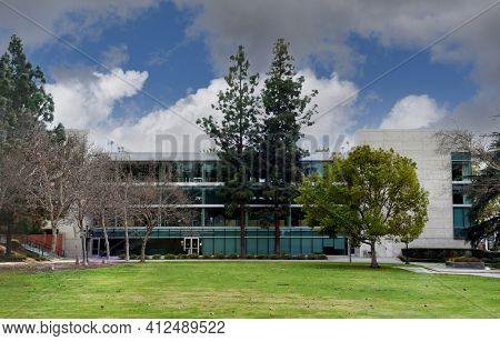 WHITTIER, CALIFORNIA 12 MAR 2021: Bonnie Bell Wardman Library on the Campus of Whittier College.