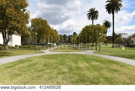 WHITTIER, CALIFORNIA 12 MAR 2021: The Lower Quad at Whittier College, a Liberal Arts College in Southern California.