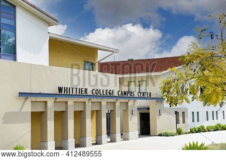 WHITTIER, CALIFORNIA 12 MAR 2021: Campus Center at Whittier College A Liberal Arts school in Los Angeles County.