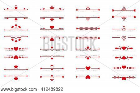 Set Of Red Text Frames Thin Line And Heart Element. Romantic Elegant Ornamental Decor Text Frame Con