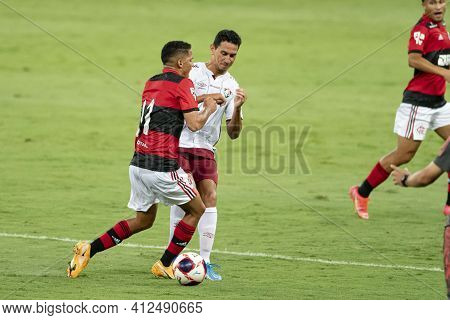 Rio, Brazil - March 14, 2021: Thiaguinho Joao Gomes In Ball Dispute With Paulo Henrique Ganso Player