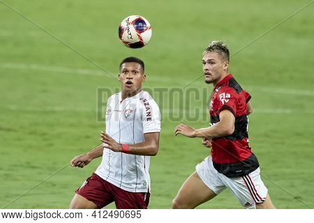 Rio, Brazil - March 14, 2021: Fernando Pacheco In Ball Dispute With Noga Player In Match Between Fla