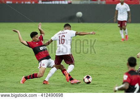Rio, Brazil - March 14, 2021: Joao Gomes  In Ball Dispute With  Fernando Pacheco Player In Match Bet